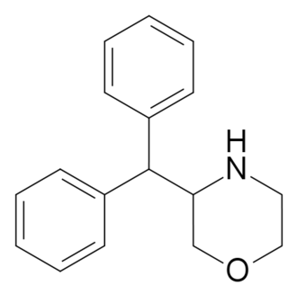 Substituted phenylmorpholine - 3-Benzhydrylmorpholine, a stimulant which is effectively an intermediate analog of the pipradrol class and phenmetrazine.