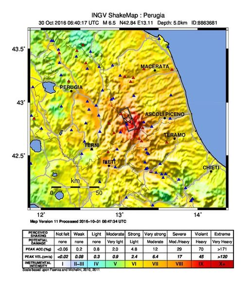 30-10-2016 central italy ShakeMap