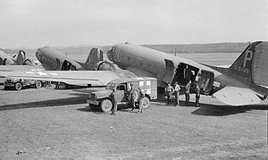 RAF Merryfield - Douglas C-47A-80-DL Serial 43-15135 of the 302d TCS