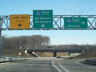 Interstate 96 - Exit and entry ramps from the 36th Street interchange