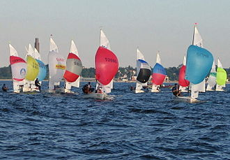 Spinnaker - 420 class dinghies with symmetric spinnakers.