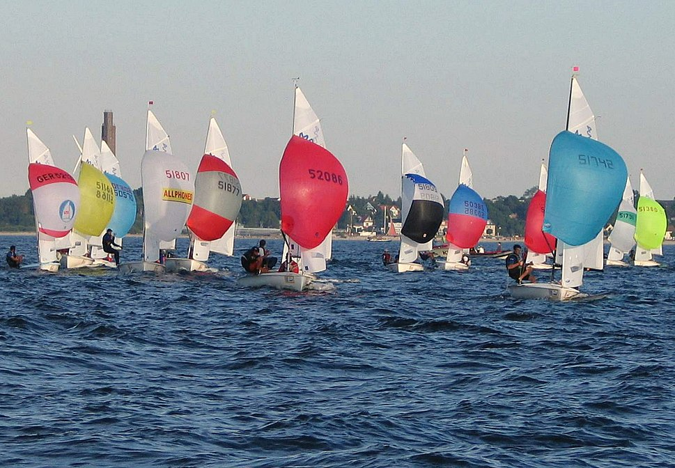 420 Class Dinghies with spinnakers