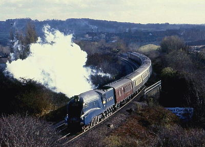 Mallard, the only steam locomotive in the world to reach 126 mph (203 km/h) 4468 Sheepbridge Bank Chesterfield.jpg
