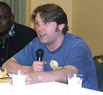 Oliver Wyman (actor) - Oliver Wyman speaking on a panel on voice acting at the Big Apple Convention in Manhattan, New York on June 8, 2008.