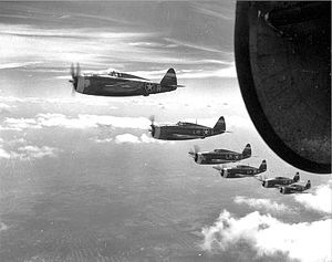 62d Fighter Squadron - 62d Fighter Squadron P-47 Thunderbolts on an escort mission, 1943
