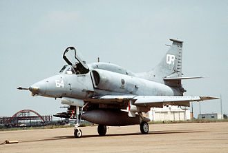 Naval Air Station South Weymouth - An A-4M of VMA-322 on the ramp in Texas