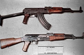 AK-47 - AKMS with a stamped Type 4B receiver (top), and an AK-47 with a milled Type 2A receiver