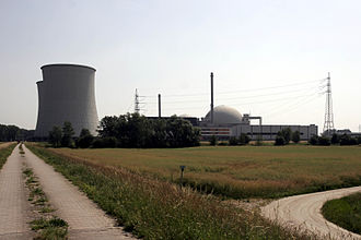 Biblis Nuclear Power Plant - Unit A, seen from South-West with two cooling towers