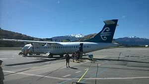Queenstown Airport - ATR 72 on the tarmac at Queenstown Airport