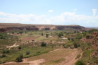 Moenkopi, Arizona - Southeastern outskirts of Moenkopi and farming areas, as seen from the Arizona State Route 264