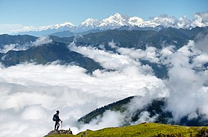 Langtang National Park - Image: A trekker enjoying the beauty of Langtang, Nepal