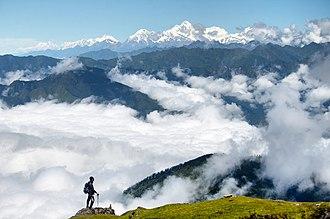 Langtang National Park - Image: A trekker enjoying the beauty of Langtang, Nepal