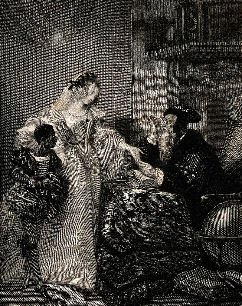 A woman having her palm read by a fortune-teller. Engraving Wellcome V0036034.jpg
