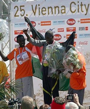 Abel Kirui - Kirui tops the podium after setting a course record at the Vienna Marathon