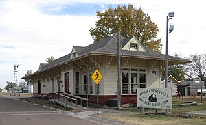 Abilene and Smoky Valley Railroad - Historic 1887 Rock Island Depot. Listed on the National Register of Historic Places.