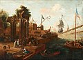 Abraham Storck-Painting of a southern port with figures and ships.jpg