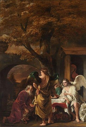 Abraham ontvangt de drie engelen Rijksmuseum SK-A-1577