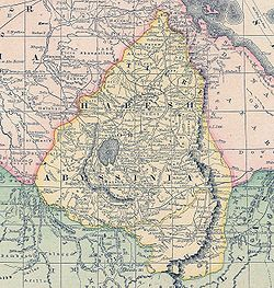 Map of Abyssinia (Ethiopia) in the 19th century.