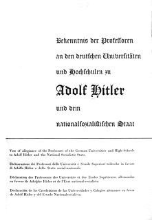 Vow of allegiance of the Professors of the German Universities and High-Schools to Adolf Hitler and the National Socialistic State document of support for Adolf Hitler signed by German academics