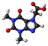 Ball-and-stick model of the acefylline molecule