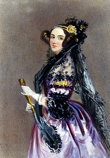 Watercolor portrait of Ada King, Countess of Lovelace (Ada Lovelace), 1840. Portrait by Alfred Edward Chalon (1780–1860). Image courtesy Science & Society Picture Library via Wikimedia Commons.