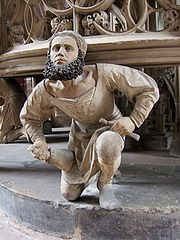 Nuremberg sculptor Adam Kraft, self-portrait from St Lorenz Church, 1490s.