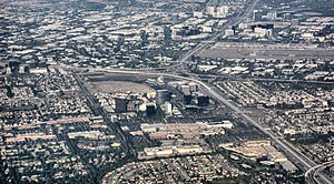 Aerial view of central Orange County overlooki...
