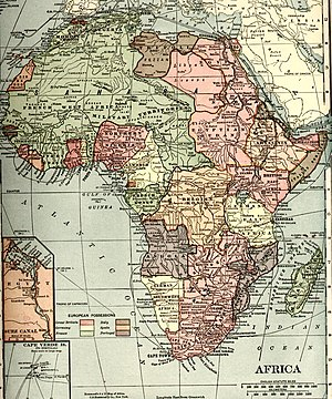 Afro-Germans - Map of Africa in 1914 with regions colonized by Germany shown in yellow.