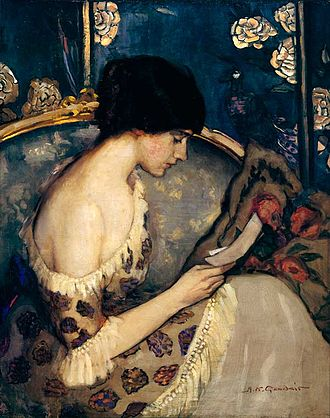 Agnes Goodsir - A letter from the Front/Girl on couch (1915)