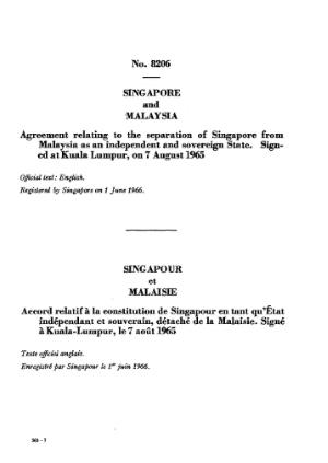 Agreement relating to the separation of Singapore from Malaysia as an independent and sovereign State.djvu