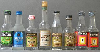 Aguardiente Generic term for alcoholic beverages containing 29% to 60% alcohol by volume
