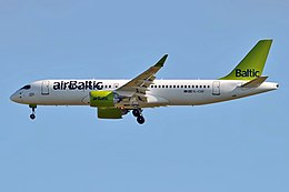 Air Baltic, YL-CSD, Bombardier CS300 (35595345482).jpg