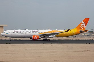 One of seven Qatar Airways aircraft painted in Asian Games livery. Airbus A330-302, Qatar Airways AN1154878.jpg