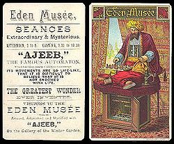 "A poster advertising ""Ajeeb,"" a chess automaton."
