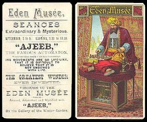 "Albert Hodges - Advertisement of the display of ""Ajeeb"", a chess automaton"