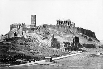 Frankish Tower (Acropolis of Athens) - View of the Acropolis in 1872, with the Frankish Tower conspicuously evident