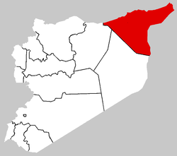 Map of Syria with Al Hasakah highlighted.