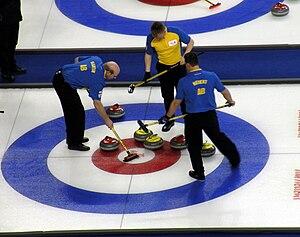 2009 Tim Hortons Brier - Team Alberta in action against Ontario