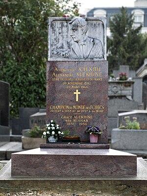 Grace Alekhine - Grave of Grace Alekhine and her husband Alexander Alekhine at Montparnasse Cemetery in Paris, France