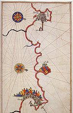 Carte maritime ottomane du XVIe siècle représentant la côte entre Alger et Bejaia