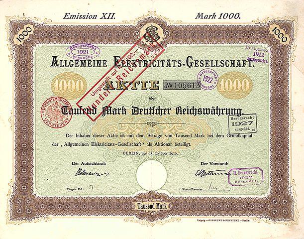 http://upload.wikimedia.org/wikipedia/commons/thumb/a/a4/Allgemeine_Elektricit%C3%A4ts-Gesellschaft_1000_Mk_1910.jpg/611px-Allgemeine_Elektricit%C3%A4ts-Gesellschaft_1000_Mk_1910.jpg