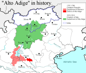 "History of Trentino - Trentino (green area) was part of the ""Alto Adige Department"" under Napoleon"