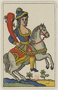 Aluette card deck - Grimaud - 1858-1890 - Knight of Clubs.jpg
