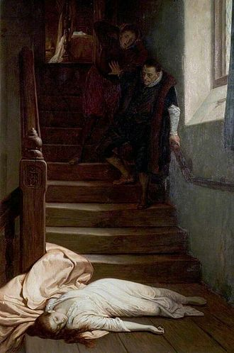William Frederick Yeames - Amy Robsart (1877) Yeames favoured Tudor and Stuart subjects and was fascinated by the events surrounding the death of Amy Robsart.