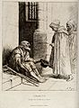 An old man with two crutches is sitting on the steps of a ch Wellcome V0020426.jpg