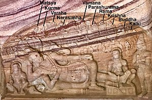 Dashavatara - Anantashayana Vishnu with Lakshmi, his ten avatars above him (annotated), 6th – 8th century Badami, Karnataka