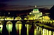 Basílica de São Pedro, no enclave do Vaticano, em Roma. 87,8% da população italiana segue o Catolicismo Romano.