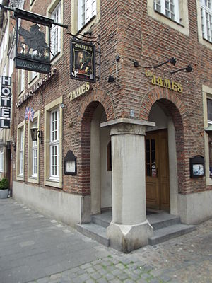 Anglophile - The James, an English-style pub in Münster, Germany, sporting the UK flag and the sign of James II