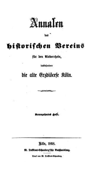 File:Annalen des Historischen Vereins für den Niederrhein 19 (1868).djvu