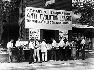 Creation–evolution controversy - Anti-Evolution League at the Scopes Trial.